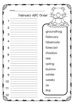 February - ABC Order