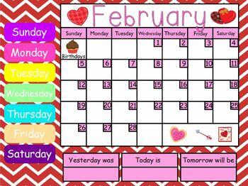 February 2017 Kindergarten ActivInspire Calendar
