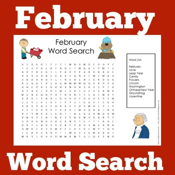 February Activity | February Word Search