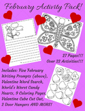 February Activity Pack! Writing Prompts, Valentine Art, Wo
