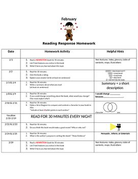 February Adapted Homework