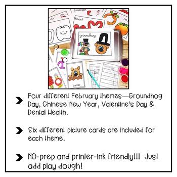 February Add Dough and Go {Playdough Activities}