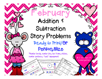 February Addition & Subtraction Story Problems Print & Go/