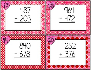 February Addition and Subtraction Task Cards