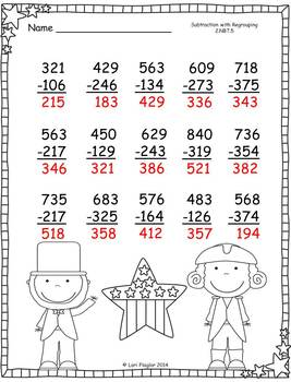 February Addition and Subtraction with Regrouping Printables