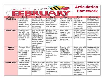 February Articulation Calendar