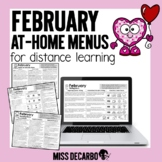 February At Home Menus Distance Learning