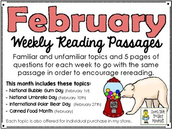 February BUNDLE of Weekly Reading Passage and Questions (4 Included)