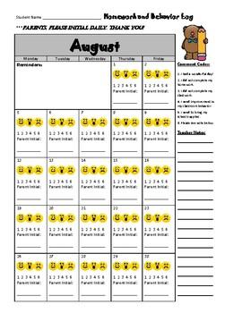 August Behavior Log