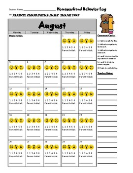 August Behavior Log
