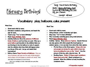February Birthdays Vocabulary Lesson Plans