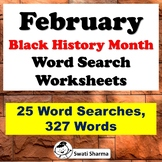 February Black History Month, Word Search Worksheets, Distance Learning