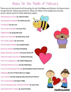 "February Book List- Unit ""Hugs and Kisses"""