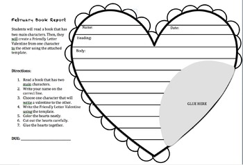 Valentine's Day Book Report Friendly Letter