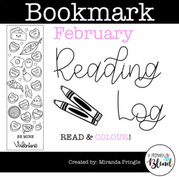 February Bookmark Coloring Reading Log