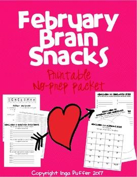 February Brain Snacks: No-prep printables