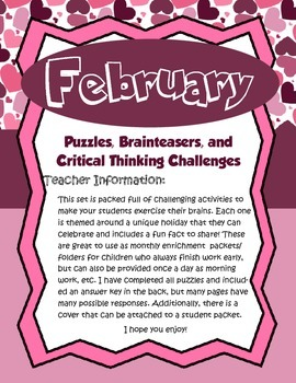 February Brain Teasers and Critical Thinking Challenges- Enrichment Folder