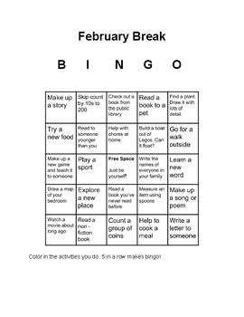 February Break Bingo