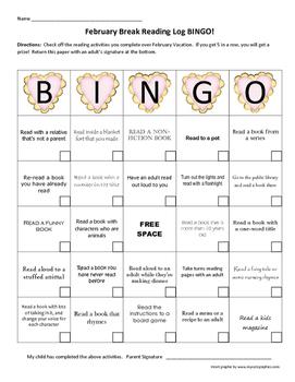 February Break Reading Log Bingo!