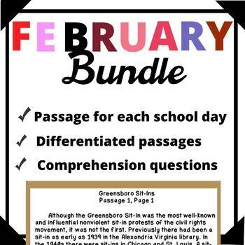 February Bundle-Day in History Differentiated Reading Passage Ongoing Assessment