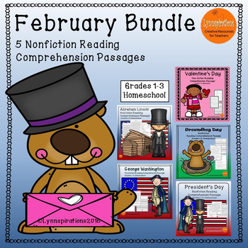 February Bundle: Reading Comprehension Passage For Grades 1-3