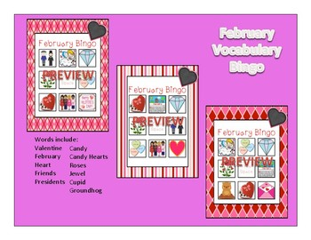February Bundle for Vocab, Concepts, Bingo, Flashcards