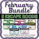 February Bundle of 5 Escape Rooms - Valentine's, Groundhog Day, Black History