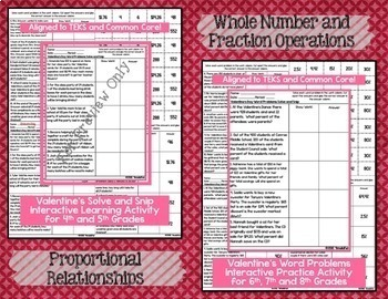 Valentine's Day Math Bundle of Activities- Task Cards and Solve and Snips