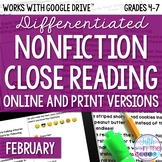 February COMBO Differentiated Nonfiction Close Reading Tex