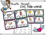 February CVC Short Vowel Task Cards