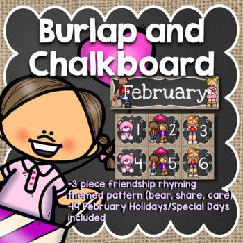 February Calendar: Burlap and Chalkboard