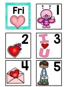 February Pocket Chart or Linear Calendar Cards