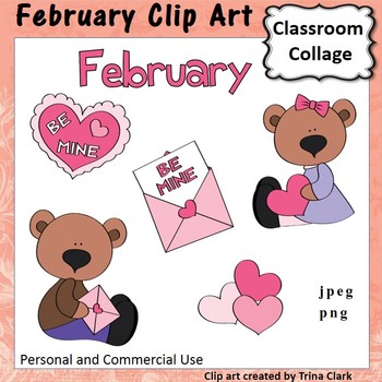 February Calendar Clip Art - Color - personal & commercial use