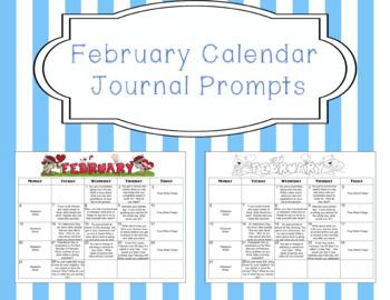 February Calendar Editable Journal Prompts