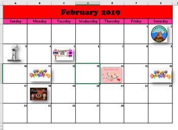 February Calendar (Excel)
