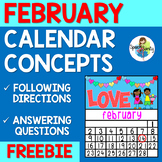 February Calendar Concepts: Following Directions & Answering Wh-Questions