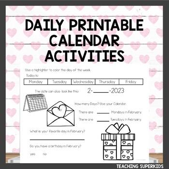 Math Meeting February Calendar Journal Activities