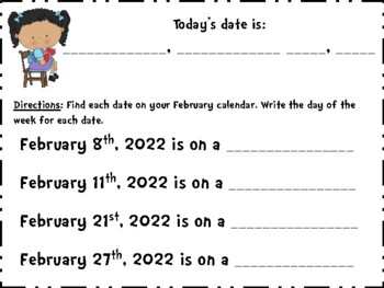 February Calendar Journal (Integrates math and literacy!)