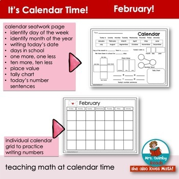 Calendar Keepers for February | Math and Activities | Calendar Math