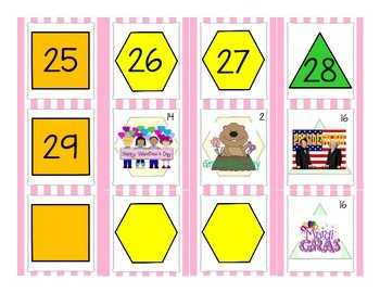February Calendar Math Pieces with ABBC Shape Pattern