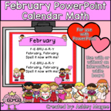 February Calendar Math - in PowerPoint - use with or witho