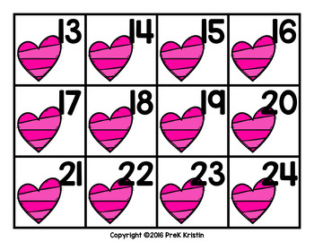 February (Valentine's Day Themed) Calendar Numbers