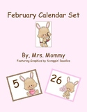 February Calendar Numbers Set (Valentine's)
