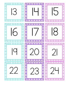 February Calendar Numeral Tags