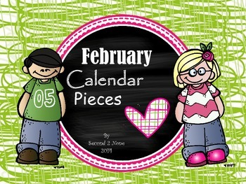 February Calendar Pieces in Pink and Green