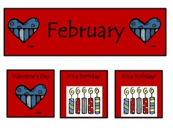 February Calendar Pieces in Red
