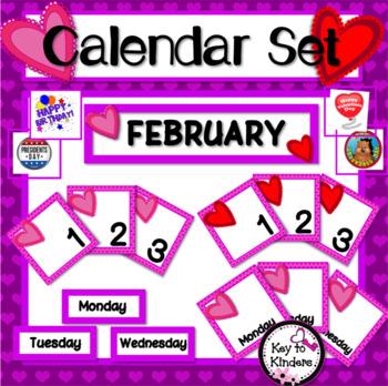 February Calendar Set - Hearts FREE
