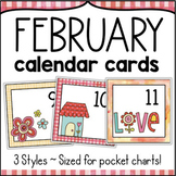 February Calendar Numbers - Monthly Calendar Cards Set