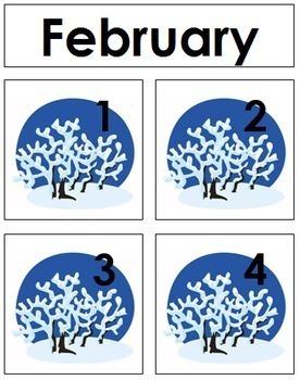 February Calendar Tags