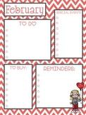 February Calendar & To Do List